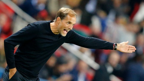 <p>               PSG's coach Thomas Tuchel gives directions during their French League One soccer match between Paris-Saint-Germain and Saint-Etienne at the Parc des Princes stadium in Paris, Friday, Sept. 14, 2018. (AP Photo/Michel Euler)             </p>