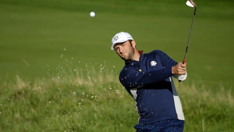 <p>               Europe's Jon Rahm plays from a bunker near the 10th green during a practice round at Le Golf National in Guyancourt, outside Paris, France, Tuesday, Sept. 25, 2018. The 42nd Ryder Cup will be held in France from Sept. 28-30, 2018 at Le Golf National. (AP Photo/Matt Dunham)             </p>