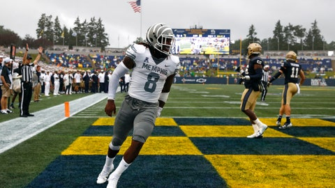<p>               Memphis running back Darrell Henderson (8) celebrates after scoring a touchdown in the first half of an NCAA college football game against Navy, Saturday, Sept. 8, 2018, in Annapolis, Md. (AP Photo/Patrick Semansky)             </p>