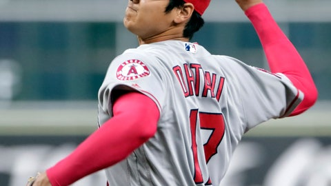 <p>               Los Angeles Angels starting pitcher Shohei Ohtani (17) throws against the Houston Astros during the first inning of a baseball game Sunday, Sep. 2, 2018, in Houston. (AP Photo/Michael Wyke)             </p>