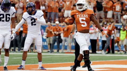 <p>               Texas running back Tre Watson (5) struts through the end zone after scoring a touchdown against TCU during the first half of an NCAA college football game, Saturday, Sept. 22, 2018, in Austin, Texas. (AP Photo/Eric Gay)             </p>