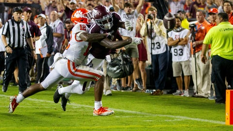 <p>               Texas A&M wide receiver Quartney Davis (1) has the ball punched out of his hands for a touchback by Clemson defensive back K'Von Wallace (12) during the fourth quarter of an NCAA college football game Saturday, Sept. 8, 2018, in College Station, Texas. (AP Photo/Sam Craft)             </p>