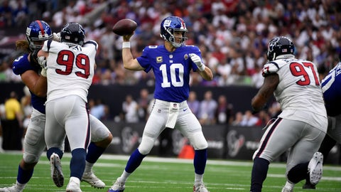 <p>               In this Sunday, Sept. 23, 2018, photo, New York Giants quarterback Eli Manning (10) throws a pass against the Houston Texans during the first half of an NFL football game in Houston. Fans are breathing easier in New Jersey and Seattle, and taking in some rarefied air in Western New York. That's what happens when your hapless, helpless and hopeless football teams suddenly turn nasty, effective and victorious. (AP Photo/Eric Christian Smith)             </p>