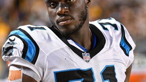 <p>               FILE - In this Aug. 30, 2018, file photo, Carolina Panthers defensive end Efe Obada (71) looks on from the sideline during an NFL preseason football game against the Pittsburgh Steelers, in Pittsburgh. Obada became the first player from the NFL's International Pathway Program to make a final roster, capping a remarkable journey. The Nigerian born Obada only started playing football four years ago when he turned 22. (AP Photo/Don Wright, File)             </p>