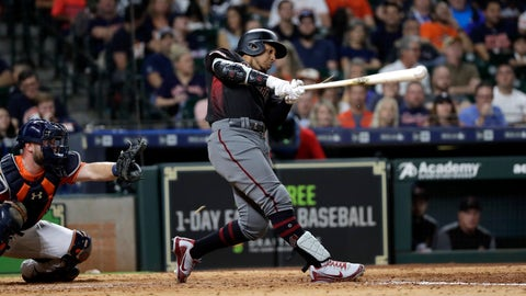<p>               Arizona Diamondbacks' Jon Jay, right, hits a triple to score Nick Ahmed as Houston Astros catcher Brian McCann reaches for the pitch during the eighth inning of a baseball game Friday, Sept. 14, 2018, in Houston. (AP Photo/David J. Phillip)             </p>