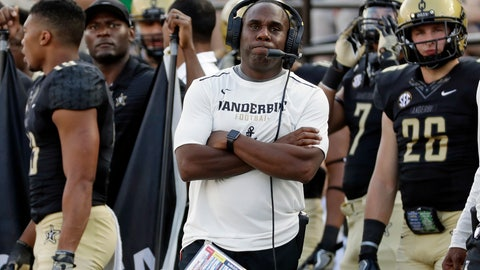 <p>               FILE - In this Sept. 23, 2017, file photo, Vanderbilt head coach Derek Mason watches from the sideline in the second half of a 59-0 loss to Alabama in an NCAA college football game in Nashville, Tenn. A year ago, Vanderbilt's undefeated start ended in a rout at the hands of eventual national champion Alabama. Now the Commodores are off to a 2-0 start and preparing for a trip to No. 8 Notre Dame, and coach Derek Mason is eager to prove how much they've learned. (AP Photo/Mark Humphrey, File)             </p>