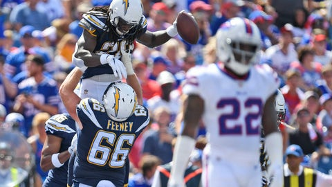 <p>               Los Angeles Chargers' Melvin Gordon, top left, celebrates a touchdown with Dan Feeney during the first half of an NFL football game against the Buffalo Bills, Sunday, Sept. 16, 2018, in Orchard Park, N.Y. (AP Photo/Adrian Kraus)             </p>