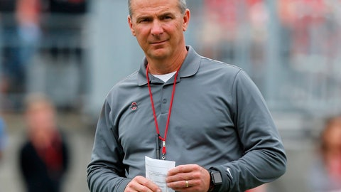 <p>               FILE - In this April 14, 2018, file photo, Ohio State coach Urban Meyer watches the NCAA college football team's spring game in Columbus, Ohio. Ohio State has made it through two games fine without Meyer. Now the No. 4 Buckeyes face their toughest test on the last Saturday before their suspended coach can return to the sideline. (AP Photo/Jay LaPrete, File)             </p>