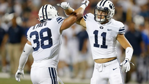 <p>               FILE - In this Sept. 1, 2018, file photo, Brigham Young linebacker Butch Pau'u (38) and Austin Lee celebrate after breaking up a pass in the second half during an NCAA college football game against Arizona, in Tucson, Ariz. Both California and BYU are traveling a similar road in search of a turnaround this season. The two teams come into their game Saturday in Provo riding a wave of renewed confidence after impressive season-opening wins.  (AP Photo/Rick Scuteri, File)             </p>