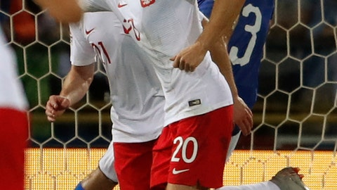 <p>               Poland's Piotr Zieliński celebrates after scoring his side's first goal during the UEFA Nations League soccer match between Italy and Poland at Dall'Ara stadium in Bologna, Italy, Friday, Sept. 7, 2018. (AP Photo/Antonio Calanni)             </p>