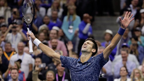 <p>               Novak Djokovic, of Serbia, celebrates after defeating Juan Martin del Potro, of Argentina, in the men's final of the U.S. Open tennis tournament, Sunday, Sept. 9, 2018, in New York. (AP Photo/Julio Cortez)             </p>