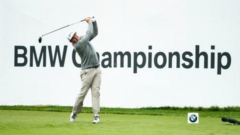 <p>               Keegan Bradley tees off on the 18th hole during the BMW Championship golf tournament at the Aronimink Golf Club, Monday, Sept. 10, 2018, in Newtown Square, Pa. Bradley held off Justin Rose in a sudden-death playoff to win the rain-plagued BMW Championship for his first PGA Tour victory in six years. (AP Photo/Chris Szagola)             </p>
