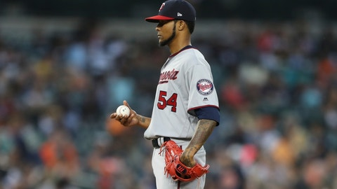 <p>               FILE - In this Aug. 10, 2018, file photo, Minnesota Twins starting pitcher Ervin Santana stands on the mound after giving up a two-run home run to Detroit Tigers' Jose Iglesias in the fifth inning of a baseball game in Detroit. Santana may miss the rest of the season while receiving a series of platelet rich plasma injections to the middle finger of his pitching hand. Santana is 0-1 with a 8.03 ERA in five major league starts this season.(AP Photo/Carlos Osorio, File)             </p>