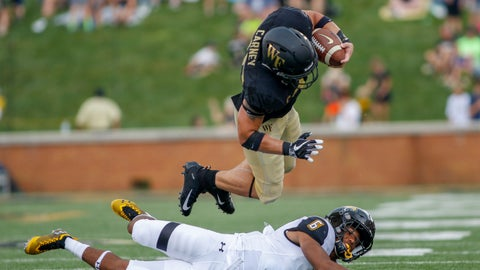 <p>               Wake Forest running back Cade Carney dives over Towson defensive back Jamal Gay in the second half of an NCAA college football game in Winston-Salem, N.C., Saturday, Sept. 8, 2018. (AP Photo/Nell Redmond)             </p>