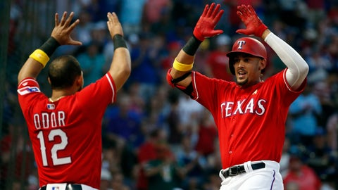<p>               Texas Rangers' Rougned Odor (12) congratulates Ronald Guzman (67) after Guzman's three-run home run against the Minnesota Twins during the second inning of a baseball game, Saturday, Sept. 1, 2018, in Arlington, Texas. (AP Photo/Michael Ainsworth)             </p>