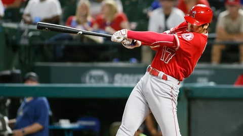 <p>               Los Angeles Angels' Shohei Ohtani follows through on a two-run home run against the Texas Rangers during the eighth inning of a baseball game Wednesday Sept. 5, 2018, in Arlington, Texas. (AP Photo/Ray Carlin)             </p>
