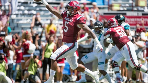 <p>               South Carolina running back Rico Dowdle (5) scores a touchdown against Coastal Carolina during the first half of an NCAA college football game Saturday, Sept. 1, 2018, in Columbia, S.C. (AP Photo/Sean Rayford)             </p>