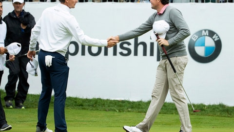 <p>               Justin Rose, of England, left, and Keegan Bradley shakes hands after the BMW Championship golf tournament at the Aronimink Golf Club, Monday, Sept. 10, 2018, in Newtown Square, Pa. Bradley held off Rose in a sudden-death playoff to win the rain-plagued BMW Championship for his first PGA Tour victory in six years. (AP Photo/Chris Szagola)             </p>