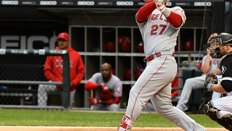 <p>               Los Angeles Angels' Mike Trout (27) hits a two run home run during the first inning of a baseball game against the Chicago White Sox on Saturday, Sept. 8, 2018, in Chicago. (AP Photo/Matt Marton)             </p>