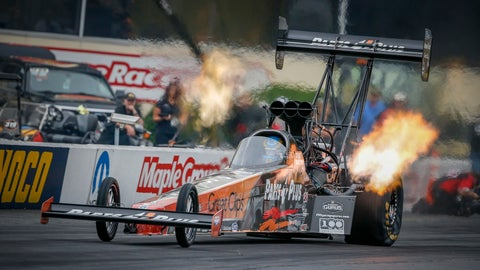 <p>               In this photo provided by the NHRA, Clay Millican races to the Top Fuel provisional qualifying lead on Friday, Sept. 14, 2018, at the annual Dodge NHRA Nationals at Maple Grove Raceway. (Randy Anderson/NHRA via AP)             </p>