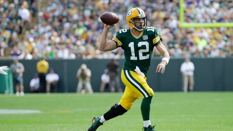 <p>               Green Bay Packers' Aaron Rodgers scrambles during the second half of an NFL football game against the Minnesota Vikings Sunday, Sept. 16, 2018, in Green Bay, Wis. (AP Photo/Mike Roemer)             </p>