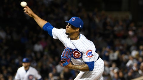 <p>               Chicago Cubs relief pitcher Pedro Strop (46) throws the ball against the Milwaukee Brewers during the ninth inning of a baseball game, Tuesday, Sept. 11, 2018, in Chicago. The Cubs won 3-0. (AP Photo/David Banks)             </p>
