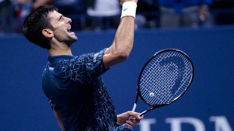 <p>               Novak Djokovic, of Serbia, celebrates after defeating Kei Nishikori, of Japan, during the semifinals of the U.S. Open tennis tournament, Friday, Sept. 7, 2018, in New York. (AP Photo/Andres Kudacki)             </p>