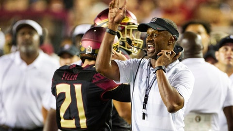 <p>               Florida State head coach Willie Taggart directs his team in the second half against Virginia Tech in an NCAA college football game in Tallahassee, Fla., Monday, Sept. 3, 2018. Virginia Tech defeated Florida State 24-3. (AP Photo/Mark Wallheiser)             </p>