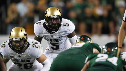 <p>               FILE - In this Aug. 31, 2018, file photo, Colorado outside linebacker Davion Taylor (5) waits for the play in the first half of an NCAA college football game against Colorado State, in Denver. Davion Taylor might have been great in high school, if he had played in games, rather than just practiced with his team.  Hard to really know. As a Seventh Day Adventist, Taylor honored the Sabbath from sundown on Friday to sundown on Saturday by resting and worshipping. Meaning, he didn't play in Friday night high school games.  (AP Photo/David Zalubowski, File)             </p>
