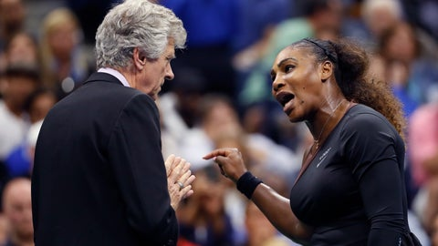 """<p>               FILE - In this Saturday, Sept. 8, 2018, file photo, Serena Williams, right, talks with referee Brian Earley during the women's final of the U.S. Open tennis tournament against Naomi Osaka, of Japan, in New York. Some black women say Serena Williams' experience at the U.S. Open final resonates with them. They say they are often forced to watch their tone and words in the workplace in ways that men and other women are not. Otherwise, they say, they risk being branded an """"Angry Black Woman."""" (AP Photo/Adam Hunger, File)             </p>"""