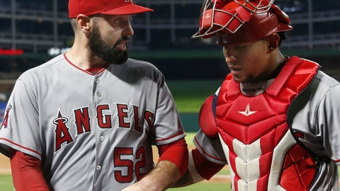 <p>               Los Angeles Angels starting pitcher Matt Shoemaker (54) talks with catcher Jose Briceno (10) at the end of the fourth inning of a baseball game against the Texas Rangers Monday, Sept. 3, 2018, in Arlington, Texas. (AP Photo/Mike Stone)             </p>