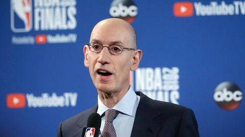 <p>               FILE - In this May 31, 2018, file photo, NBA Commissioner Adam Silver speaks at a news conference before Game 1 of basketball's NBA Finals between the Golden State Warriors and the Cleveland Cavaliers in Oakland, Calif. Silver wants all teams to hire more women, especially in leadership and supervisory positions, and is urging them to take some of the mandates that the Dallas Mavericks must now adhere to as an impetus to improve working conditions within their own organizations, according to a memo sent to all teams Friday, Sept. 21, 2018, and obtained by The Associated Press (AP Photo/Jeff Chiu)             </p>