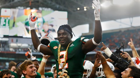 <p>               Miami defensive back Trajan Bandy (2) celebrates a turnover against Savannah State during the first half of an NCAA college football game, Saturday, Sept. 8, 2018, in Miami Gardens, Fla. (AP Photo/Brynn Anderson)             </p>