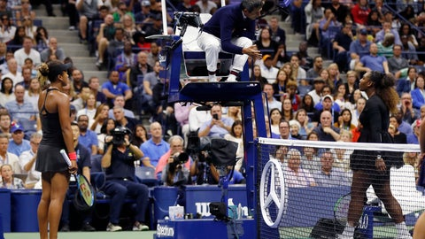 <p>               Serena Williams, right, talk with chair umpire Carlos Ramos as Naomi Osaka, of Japan, listens during the women's final of the U.S. Open tennis tournament, Saturday, Sept. 8, 2018, in New York. (AP Photo/Adam Hunger)             </p>