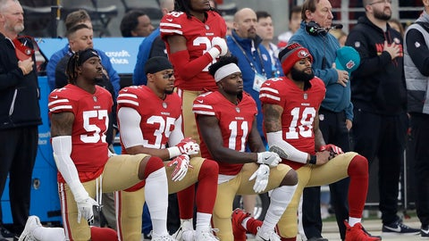 <p>               FILE - In this Dec. 24, 2017, file photo, San Francisco 49ers outside linebacker Eli Harold, from bottom left, kneels with safety Eric Reid, wide receiver Marquise Goodwin and wide receiver Louis Murphy during the national anthem before an NFL football game against the Jacksonville Jaguars in Santa Clara, Calif. With the unilateral policy banning players from any on-field protests during the anthem on hold as owners and players discuss the issue, no one can be sure what's ahead. (AP Photo/Marcio Jose Sanchez, File)             </p>