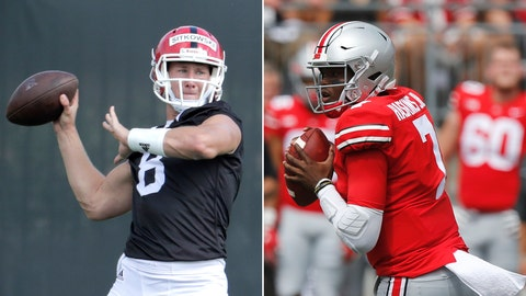 <p>               FILE - At left, in an Aug. 3, 2018, file photo, Rutgers quarterback Artur Sitkowski works out during NCAA college football training camp, in Piscataway, N.J. At right, in a Sept. 1, 2018, file photo, Ohio State quarterback Dwayne Haskins plays against Oregon State during an NCAA college football game, in Columbus, Ohio. Ohio State opens Big Ten play on Saturday, Sept. 8, 2018, against improving Rutgers. (AP Photo/File)             </p>