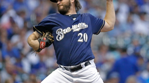 <p>               Milwaukee Brewers' Wade Miley pitches during the first inning of the team's baseball game against the Chicago Cubs on Tuesday, Sept. 4, 2018, in Milwaukee. (AP Photo/Aaron Gash)             </p>