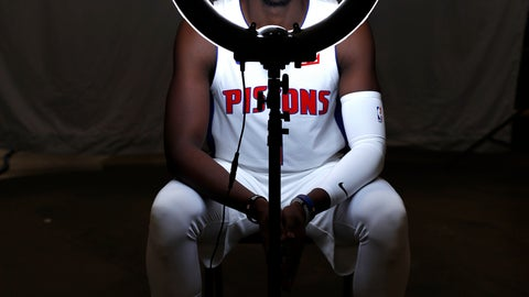 <p>               Detroit Pistons guard Reggie Jackson poses during NBA basketball media day in Detroit, Monday, Sept. 24, 2018. (AP Photo/Paul Sancya)             </p>