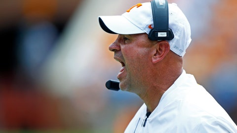 <p>               Tennessee head coach Jeremy Pruitt yells at his players in the first half of an NCAA college football game against UTEP, Saturday, Sept. 15, 2018, in Knoxville, Tenn. (AP Photo/Wade Payne)             </p>