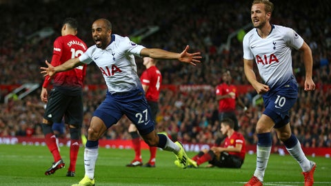 <p>               Tottenham Hotspur's Lucas Moura, left, celebrates with Harry Kane after scoring his side's second goal during the English Premier League soccer match between Manchester United and Tottenham Hotspur at Old Trafford stadium in Manchester, England, Monday, Aug. 27, 2018. (AP Photo/Dave Thompson)             </p>
