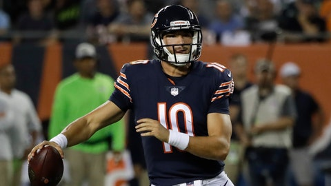 <p>               FILE - In this Monday, Sept. 17, 2018, file photo, Chicago Bears quarterback Mitchell Trubisky (10) scrambles as he looks for a receiver during the first half of an NFL football game against the Seattle Seahawks, in Chicago. fter a close loss to Green Bay, the Bears got a nice win over Seattle. Now they face an Arizona team that's been outscored 58-6 in the Cardinals' first 0-2 start since 2005. It's a game Chicago is supposed to win, maybe even dominate. (AP Photo/Nam Y. Huh, File)             </p>