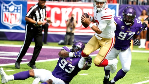 <p>               San Francisco 49ers quarterback Jimmy Garoppolo, center, is sacked by Minnesota Vikings defensive tackle Sheldon Richardson (93) and defensive end Everson Griffen (97) during the first half of an NFL football game, Sunday, Sept. 9, 2018, in Minneapolis. (AP Photo/Bruce Kluckhohn)             </p>