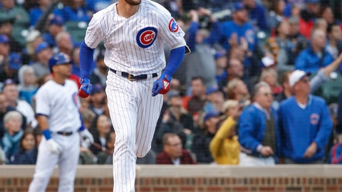 <p>               Chicago Cubs' Kris Bryant watches his solo home run hit off of St. Louis Cardinals' Adam Wainwright during the fourth inning of a baseball game, Friday, Sept. 28, 2018, in Chicago. (AP Photo/Kamil Krzaczynski)             </p>