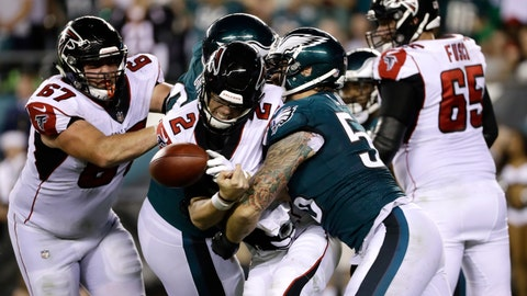<p>               Atlanta Falcons' Matt Ryan (2) fumbles the ball after a hit from Philadelphia Eagles' Chris Long (56) during the second half of an NFL football game, Thursday, Sept. 6, 2018, in Philadelphia. The Falcons recovered the fumble. (AP Photo/Michael Perez)             </p>