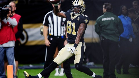 <p>               FILE - In this Aug. 30, 2018, file photo, New Orleans Saints wide receiver Cameron Meredith (81) celebrates his touchdown reception in the first half of an NFL preseason football game against the Los Angeles Rams in New Orleans. The addition of free agent Meredith and rookie Tre'Quan Smith, combined with the four-game suspension of 2017 rushing leader Mark Ingram, has set the stage for the Saints to revert to a more pass-heavy attack--if they choose. (AP Photo/Bill Feig, File)             </p>