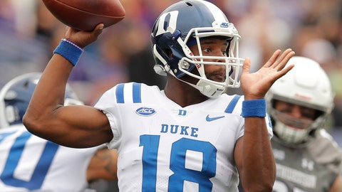 <p>               FILE - In this Sept. 8, 2018, file photo, Duke's Quentin Harris throws a pass during the second half of an NCAA college football game against Northwestern, in Evanston, Ill. Duke has to replace its most irreplaceable player. Quarterback Daniel Jones, who took virtually every meaningful snap for the Blue Devils over the past two-plus seasons, is out indefinitely and now they must figure out a way to win with backup Quentin Harris. (AP Photo/Jim Young, File)             </p>