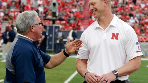 <p>               Nebraska head coach Scott Frost, right, talks with Akron head coach Terry Bowden before an NCAA college football game in Lincoln, Neb., Saturday, Sept. 1, 2018. (AP Photo/Nati Harnik)             </p>