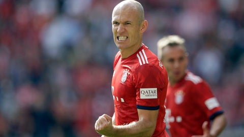 <p>               FILE -- In this Saturday, Sept. 15, 2018 photo Bayern's Arjen Robben celebrates after scoring his side's second goal during the German Bundesliga soccer match between FC Bayern Munich and Bayer Leverkusen in Munich, Germany. (AP Photo/Matthias Schrader, file)             </p>