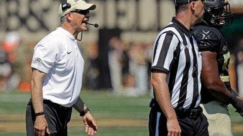 <p>               Wake Forest head coach Dave Clawson, left, argues a call in the first half of an NCAA college football game against Notre Dame in Winston-Salem, N.C., Saturday, Sept. 22, 2018. (AP Photo/Chuck Burton)             </p>