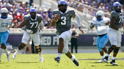 <p>               TCU quarterback Shawn Robinson (3) takes off on a 36-yard touchdown run against Southern University during the first half of an NCAA college football game, Saturday, Sept. 1, 2018, in Fort Worth, Texas. (AP Photo/Ron Jenkins)             </p>